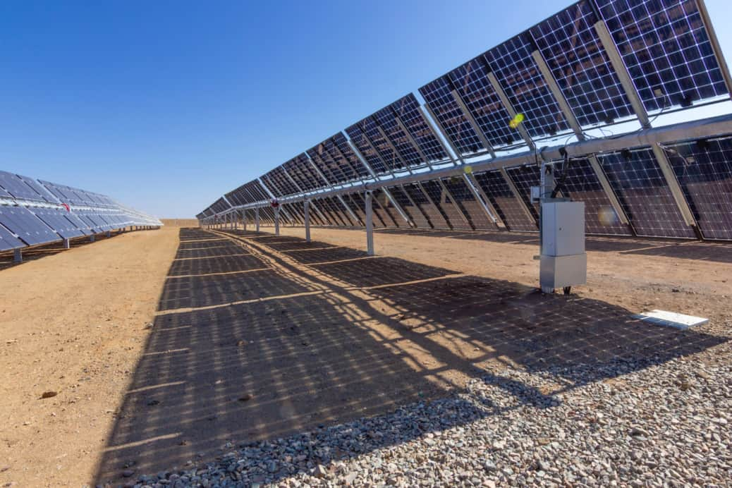 Solar PV array in desert