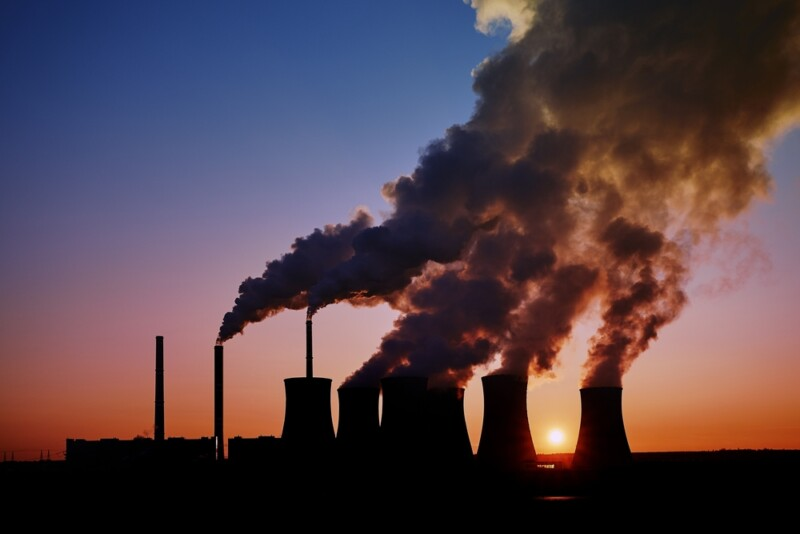 coal power station at sunset